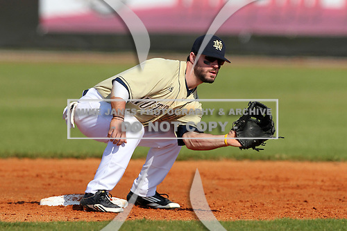 Second Baseman Frank DeSico #35 of the Notre Dame Fighting Irish during a game vs the Penn State Nittany Lions at the Big East-Big Ten Challenge at Walter Fuller Complex in St. Petersburg, Florida;  February 20, 2011.  Notre Dame defeated Penn State 8-5.  Photo By Mike Janes/Four Seam Images