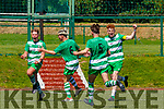 Evan Looney Killarney Celtic celebrates scoring Killarney Celtic's first goal against Mervue United in the FAI Youth Cup final in Celtic Park on Saturday with Conor Henderson (6), Padraic Looney (5) and Terry Sparling (9)