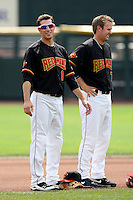 Rochester Red Wings Shortstop Trevor Plouffe (1) and Toby Gardenhire (7) during a game vs. the Norfolk Tides at Frontier Field in Rochester, New York;  June 3, 2010.   Rochester defeated Norfolk by the score of 9-0.  Photo By Mike Janes/Four Seam Images