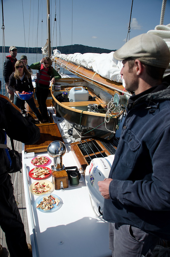 Captain Kevin Surveys Lunch Aboard Orion Somewhere in the San Juan Islands, Washington, US