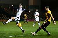 Robbie Willmott of Newport County crosses the ball into the box is challenged by Michael Rose of Morecambe during the Sky Bet League Two match between Newport County and Morcambe at Rodney Parade, Newport, Wales, UK. 23 January 2018