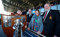 Monday 19th March 2018 |  Ulster Schools Cup Final 2018<br /> <br /> Lexi Parke wife ofUlster Branch President Garffin Parke presents  the 2018 Ulster Schools Cup to Campbell captain John McKee after his side defeated Royal School Armagh in the final at Kingspan Stadium, Ravenhill Park, Belfast, Northern Ireland. Photo by Matt Mackey / DICKSONDIGITAL<br /> <br /> <br /> <br /> Campbell College's John McKee celebrates with his team after winning the Danske Bank Schools' Cup