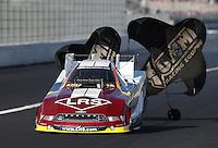 Feb. 16, 2013; Pomona, CA, USA; NHRA funny car driver Tim Wilkerson during qualifying for the Winternationals at Auto Club Raceway at Pomona.. Mandatory Credit: Mark J. Rebilas-