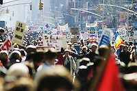 Hundreds of thousands of people (exact numbers depend on who is asked) took to the streets of New York City on March 20, 2004 to protest the continuing wars in Iraq and Afghanistan, domestic policies such as the Patriot Act, and the George W. Bush administration in general.<br /> <br /> The protest was coordinated by United for Peace and Justice, a coalition of over 1,000 international organizations that was founded in late 2002 to protest the imminent war in Iraq.