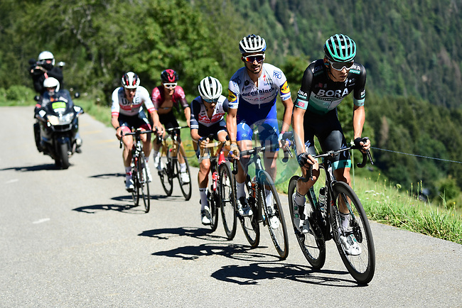 Lennard Kamnä (GER) Bora-Hansgrohe and Julian Alaphilippe (FRA) Deceuninck-Quick Step part of the breakaway during Stage 4 of Criterium du Dauphine 2020, running 157km from Ugine to Megeve, France. 15th August 2020.<br /> Picture: ASO/Alex Broadway | Cyclefile<br /> All photos usage must carry mandatory copyright credit (© Cyclefile | ASO/Alex Broadway)