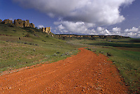 AJ3545, South Dakota, dirt road, Custer National Forest/Dakota Prairie Grasslands, road, Red dirt road leads into Custer National Forest in the state of South Dakota.