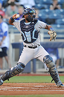 Corpus Christi Hooks catcher Chuckie Robinson (15) in action against the Tulsa Drillers at Oneok Stadium on May 4, 2019 in Tulsa, Oklahoma.  The Hooks won 9-7.  (Dennis Hubbard/Four Seam Images)