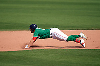 Boston Red Sox Christian Arroyo (39) slides head first into second base during a Major League Spring Training game against the Minnesota Twins on March 17, 2021 at JetBlue Park in Fort Myers, Florida.  (Mike Janes/Four Seam Images)
