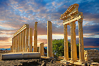 Pillars of the Greco - Roman Temple of Trajan, started by Trajan but after his death Emperor Hadrian (117-138) . A Corinthian order temple on a terrace with dimensions of 68×58m (223.10ft×190.29ft). Pergamon (Bergama) Archaeological Site, Turkey