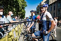 Chris Froome (GBR/Israel Start-Up Nation) interviewed at the finish in Carcassonne<br /> <br /> Stage 13 from Nîmes to Carcassonne (220km)<br /> 108th Tour de France 2021 (2.UWT)<br /> <br /> ©kramon