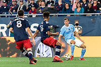 FOXBOROUGH, MA - SEPTEMBER 11: Malte Amundsen #12 of New York City FC looks to pass during a game between New York City FC and New England Revolution at Gillette Stadium on September 11, 2021 in Foxborough, Massachusetts.
