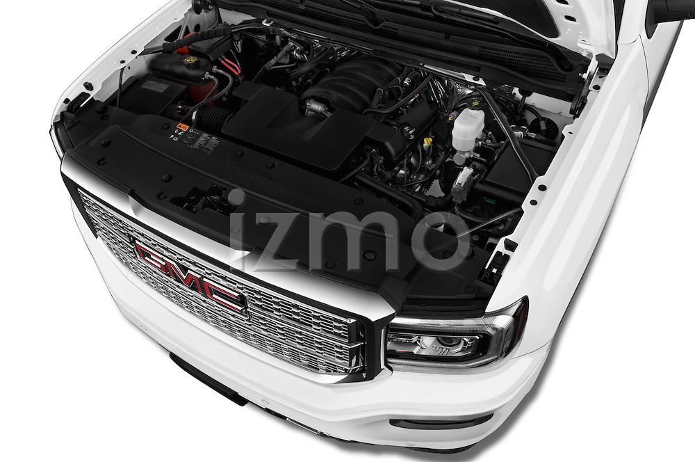 Car Stock 2018 GMC Sierra 1500 Denali 4WD Crew Cab Short Box Denali 4 Door Pick-up Engine  high angle detail view