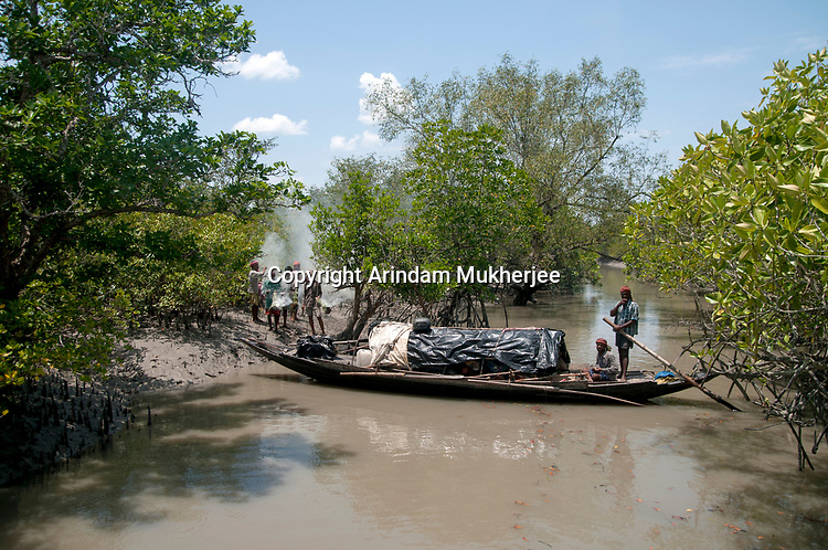 A group of honey collectors anchor their boat inside a creek to venture into the forest at Sunderbans, West Bengal, India. Arindam Mukherjee.