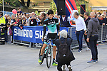 Emanuel Buchmann (GER) Bora-Hansgrohe poses for a photo with Tanja at sign on before the start of the 99th edition of Milan-Turin 2018, running 200km from Magenta Milan to Superga Basilica Turin, Italy. 10th October 2018.<br /> Picture: Eoin Clarke | Cyclefile<br /> <br /> <br /> All photos usage must carry mandatory copyright credit (© Cyclefile | Eoin Clarke)
