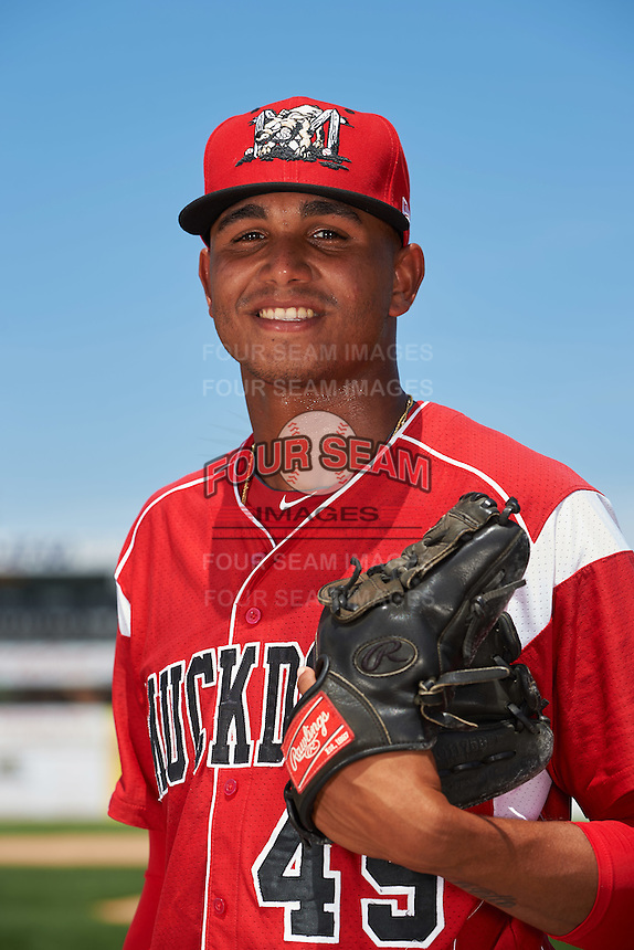 Batavia Muckdogs pitcher Obed Diaz (49) poses for a photo before the teams first practice on June 15, 2016 at Dwyer Stadium in Batavia, New York.  (Mike Janes/Four Seam Images)
