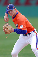 Clemson infielder Steve Wilkerson prior to a game versus the Boston College Eagles at Shea Field in Boston, Massachusetts on April 16, 2011.  Photo by Ken Babbitt /Four Seam Images
