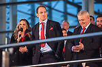 Wales's national rugby team who won both the Six Nations and the Grand Slam are welcomed to the National Assembly for Wales Senedd building in Cardiff Bay today for a public celebration event.  and Captain Alun Wyn Jones is interviewed during the event as Coach Warren Gatland looks on.