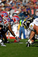 21 October 2007: Buffalo Bills center Melvin Fowler (67) holds the ball on the line of scrimmage prior to the snap during a game against the Baltimore Ravens at Ralph Wilson Stadium in Orchard Park, NY. The Bills defeated the Ravens 19-14 in front of 70,727 fans marking their second win of the 2007 season...Mandatory Photo Credit: Ed Wolfstein Photo