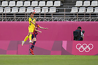 KASHIMA, JAPAN - AUGUST 5: Sam Kerr #2 of Australia goes up for a header during a game between Australia and USWNT at Kashima Soccer Stadium on August 5, 2021 in Kashima, Japan.