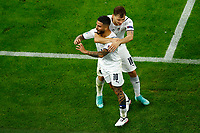 Lorenzo Insigne of Italy celebrates with Nicolo Barella after scoring the goal of 0-2 during the Uefa Euro 2020 round of 8 football match between Belgium and Italy at football arena in Munich (Germany), July 2nd, 2021. Photo Matteo Ciambelli / Insidefoto