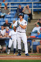 Binghamton Mets Tim Tebow (15) at bat during a game against the Erie SeaWolves on May 14, 2018 at NYSEG Stadium in Binghamton, New York.  Binghamton defeated Erie 6-5.  (Mike Janes/Four Seam Images)