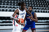 22nd February 2021, Podgorica, Montenegro; Eurobasket International Basketball qualification for the 2022 European Championships, England versus France;  Jerry Boutsiele of France holds off Ovie Soko (GBR)
