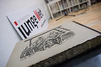 """Eroeffnung der Ausstellung """"Fruehe Druckgrafik von Arno Mohr"""" am Donnerstag den 12. April 2018 in der Ladengalerie der Tageszeitung """"junge Welt"""".<br /> Arno Mohr war Maler und Grafiker, der zumeisst in der DDR wirkte. Mohr wurde vor allem durch seine reduktionistischen, den Alltag in Berlin beobachtenden Zeichnungen bekannt.<br /> In der Ausstellung werden eine Vielzahl bislang unveroeffentlichter Werke gezeigt.<br /> 12.4.2018, Berlin<br /> Copyright: Christian-Ditsch.de<br /> [Inhaltsveraendernde Manipulation des Fotos nur nach ausdruecklicher Genehmigung des Fotografen. Vereinbarungen ueber Abtretung von Persoenlichkeitsrechten/Model Release der abgebildeten Person/Personen liegen nicht vor. NO MODEL RELEASE! Nur fuer Redaktionelle Zwecke. Don't publish without copyright Christian-Ditsch.de, Veroeffentlichung nur mit Fotografennennung, sowie gegen Honorar, MwSt. und Beleg. Konto: I N G - D i B a, IBAN DE58500105175400192269, BIC INGDDEFFXXX, Kontakt: post@christian-ditsch.de<br /> Bei der Bearbeitung der Dateiinformationen darf die Urheberkennzeichnung in den EXIF- und  IPTC-Daten nicht entfernt werden, diese sind in digitalen Medien nach §95c UrhG rechtlich geschuetzt. Der Urhebervermerk wird gemaess §13 UrhG verlangt.]"""