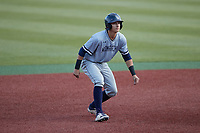 Carter Trice (4) of the Old Dominion Monarchs takes his lead off of second base against the Charlotte 49ers at Hayes Stadium on April 23, 2021 in Charlotte, North Carolina. (Brian Westerholt/Four Seam Images)