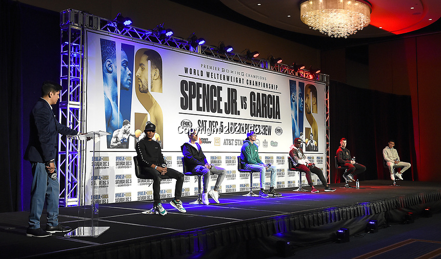 DALLAS, TX - DECEMBER 3: (L-R) Announcer Ray Flores, and boxers Eduardo Lopez, Josesito Lopez, Sebastian Fundora, Habib Ahmed, Francisco Santana, and Miguel Flores attend the undercard press conference for the Errol Spence Jr. vs Danny Garcia December 5, 2020 Fox Sports PBC Pay-Per-View title fight at AT&T Stadium in Arlington, Texas. (Photo by Frank Micelotta/Fox Sports)