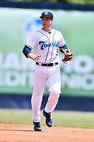 Asheville Tourists second baseman Kyle Datres (3) reacts to the ball during a game against the Delmarva Shorebirds at McCormick Field on May 5, 2019 in Asheville, North Carolina. The Shorebirds defeated the Tourists 10-9. (Tony Farlow/Four Seam Images)