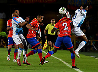 BOGOTA - COLOMBIA, 12-06-2019: Camilo Ayala (C), Anier Fiegueroa del Pasto disputan el balón con Teofilo Gutierrez y Freddy Hinestroza de Junior durante partido de vuelta por la final de la Liga Águila I 2019 entre Deportivo Pasto y Atlético Junior jugado en el estadio Nemesio Camacho El Campín de la ciudad de Bogotá. / Camilo Ayala (C), Anier Fiegueroa of Pasto vies for the ball with Teofilo Gutierrez and Freddy Hinestroza of Junior during second leg match between Deportivo Pasto and Atletico Junior for the final of the Aguila League I 2019 played at Nemesio Camacho El Campin stadium in Bogota city. Photo: VizzorImage / Gabriel Aponte / Staff