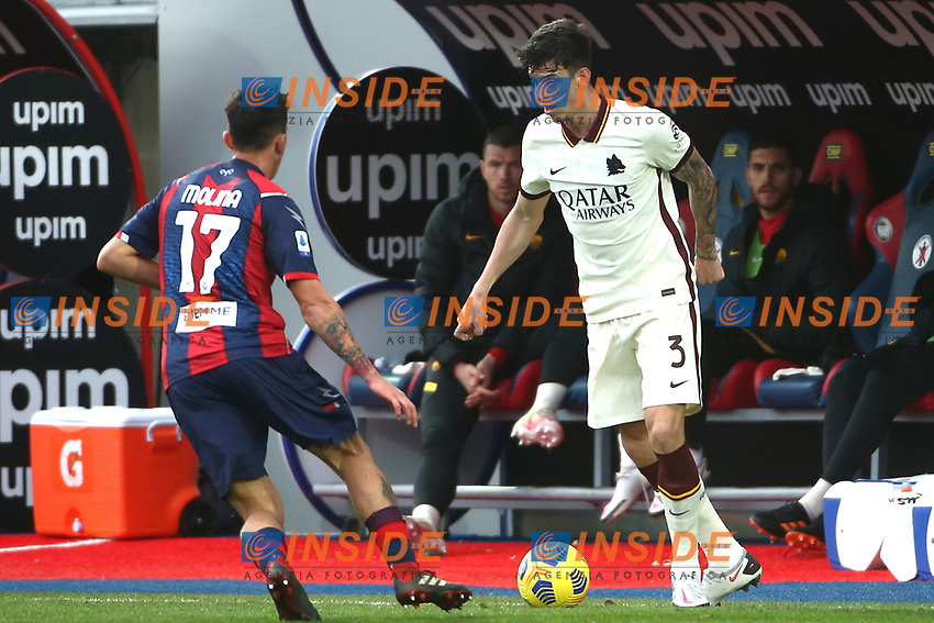 Salvatore Molina of FC Crotone and Roger Ibanez of AS Roma during the Serie A football match between FC Crotone and AS Roma at stadio Ezio Scida in Crotone (Italy), January 6th, 2020. Photo Gino Mancini / Insidefoto