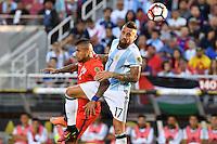 Argentina defender Nicolas Otamendi (17) and Chile midfielder Arturo Vidal (8) battle for possession during Copa America Centenario group D match, in Santa Clara, CA. Monday, Jan 06, 2016. (TFV Media via AP) *Mandatory Credit*