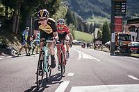 countrymen/direct rivals Steven Kruijswijk (NED/LottoNL-Jumbo) & Bauke Mollema (NED/Trek-Segafredo) fight it out with 1km to go<br /> <br /> Stage 18: Moena › Ortisei/St. Urlich (137km)<br /> 100th Giro d'Italia 2017