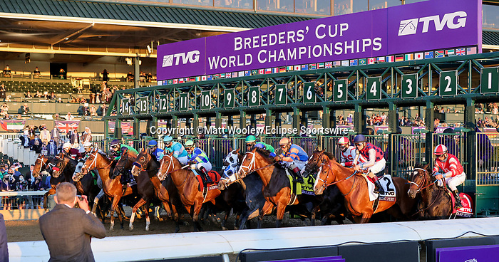 November 6, 2020: Horses race during the TVG Juvenile Presented By Thoroughbred Aftercare Alliance on Breeders' Cup Championship Friday at Keeneland on November 6, 2020, in Lexington, Kentucky. Matt Wooley/Eclipse Sportswire/Breeders Cup/CSM