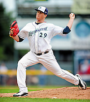 21 August 2010: Vermont Lake Monsters' pitcher Bobby Hansen on the mound against the Brooklyn Cyclones at Centennial Field in Burlington, Vermont. The Cyclones defeated the Lake Monsters 8-7 in a 12-inning game that had to be resumed in Brooklyn on August 31 due to late inning rain. Mandatory Credit: Ed Wolfstein Photo