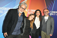 """Georges Schoucair, guest, Mounia Akl and Olivier Guerpillon at the 65th BFI London Film Festival """"Costa Brava, Lebanon"""" UK premiere, BFI Southbank, Belvedere Road, on Saturday 09th October 2021, in London, <br /> CAP/CAN<br /> ©CAN/Capital Pictures"""