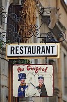 Europe/France/Rhône-Alpes/69/Rhône/Lyon: Vieux Lyon - Enseigne de restaurant au Guignol