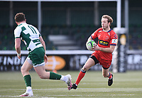 20th February 2021; Trailfinders Sports Club, London, England; Trailfinders Challenge Cup Rugby, Ealing Trailfinders versus Doncaster Knights; Sam Olver of Doncaster Knights runs at Angus Kernohan of Ealing Trailfinders