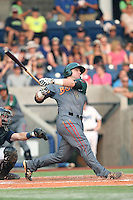 Nate Causey (6) of the Boise Hawks bats during a game against the Hillsboro Hops at Ron Tonkin Field on August 22, 2015 in Hillsboro, Oregon. Boise defeated Hillsboro, 6-4. (Larry Goren/Four Seam Images)