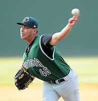 Pitcher Gaspar Santiago (46) of the Augusta GreenJackets, Class A affiliate of the San Francisco Giants, in a game against the Greenville Drive on April 10, 2011, at Fluor Field at the West End in Greenville, S.C. Photo by Tom Priddy / Four Seam Images