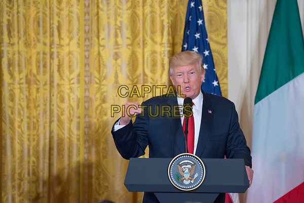 Washington DC, April 20, 2017, USA:  President Donald J Trump and Italian Prime Minister Paolo Gentiloni hold a joint press conference in the East Room of the White House . <br /> CAP/MPI/RS<br /> ©RS/MPI/Capital Pictures