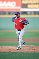 Buffalo Bisons starting pitcher Luis Santos (31) delivers a warmup pitch during a game against the Rochester Red Wings on August 25, 2017 at Frontier Field in Rochester, New York.  Buffalo defeated Rochester 2-1 in eleven innings.  (Mike Janes/Four Seam Images)
