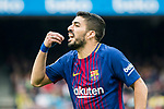 Luis Alberto Suarez Diaz of FC Barcelona reacts during the La Liga 2017-18 match between FC Barcelona and Valencia CF at Camp Nou on 14 April 2018 in Barcelona, Spain. Photo by Vicens Gimenez / Power Sport Images