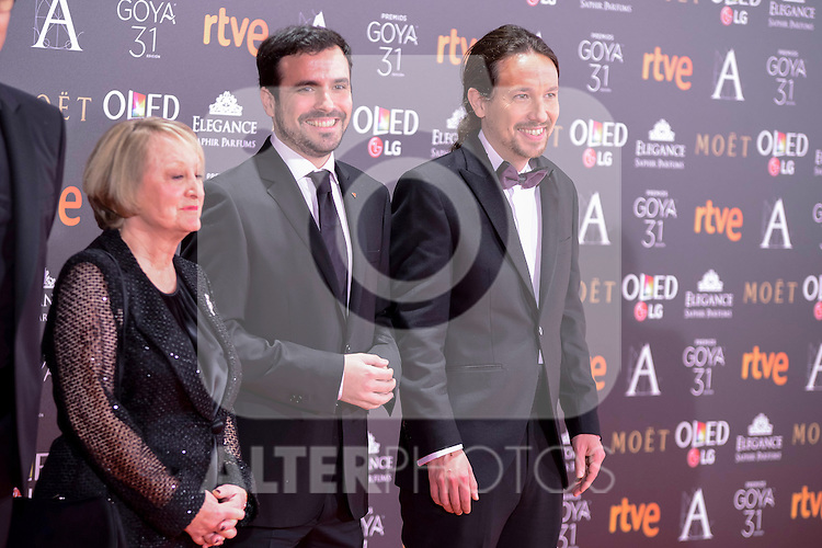 Alberto Garson and Pablo Iglesias attends to the Red Carpet of the Goya Awards 2017 at Madrid Marriott Auditorium Hotel in Madrid, Spain. February 04, 2017. (ALTERPHOTOS/BorjaB.Hojas)