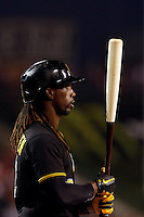 Andrew McCutchen #22 of the Pittsburgh Pirates during a game against the Los Angeles Angels at Angel Stadium on June 21, 2013 in Anaheim, California. (Larry Goren/Four Seam Images)