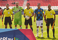 TUNJA - COLOMBIA, 29-02-2020: Andrés Rojas Noguera referee central entre  Patriotas Boyacá y Boyacá Chicó durante partido entre Patriotas Boyacá y Boyacá Chico por la fecha 7 de la Liga BetPlay I 2020 jugado en el estadio La Independencia de la ciudad de Tunja. / Andres Rojas Noguera central referee between Patriotas Boyaca and Boyaca Chico during match between Patriotas Boyaca and Boyaca Chico for the date 7 as part of BetPlay League I 2020 played at La Independencia stadium in Tunja. Photo: VizzorImage / José Miguel Palencia / Cont /