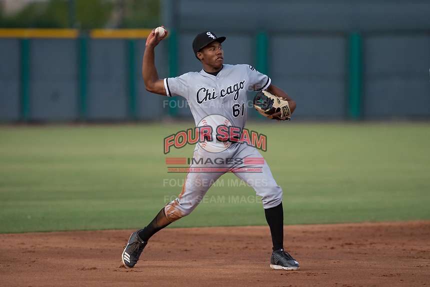 AZL White Sox third baseman Bryce Bush (61) makes a throw to first base during an Arizona League game against the AZL Cubs 2 at Sloan Park on July 13, 2018 in Mesa, Arizona. The AZL Cubs 2 defeated the AZL White Sox 6-4. (Zachary Lucy/Four Seam Images)