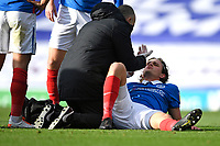 Injury concern for Rasmus Nicolaisen of Portsmouth after a clash of heads with Craig MacGillivray of Portsmouth during Portsmouth vs MK Dons, Sky Bet EFL League 1 Football at Fratton Park on 10th October 2020