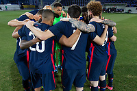 WIENER NEUSTADT, AUSTRIA - MARCH 25: USMNT huddle before a game during a game between Jamaica and USMNT at Stadion Wiener Neustadt on March 25, 2021 in Wiener Neustadt, Austria.